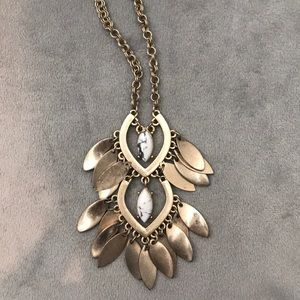 Long gold and white and gray stone necklace